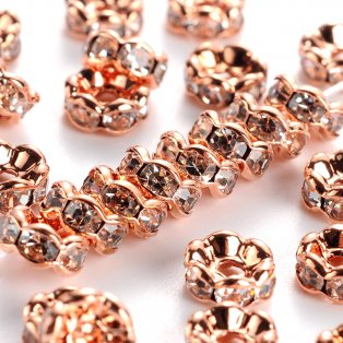 Mosazná rondelka - růžově zlatá - třída AAA - vroubkovaná - ∅ 8 x 3.8 mm - 1 ks
