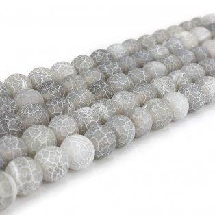 Přírodní ledový achát - světle šedý - ∅ 10 mm - 1 ks