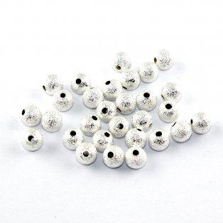 Mosazné korálky s hvězdným prachem - stříbrné - ∅ 6 mm - 10 ks