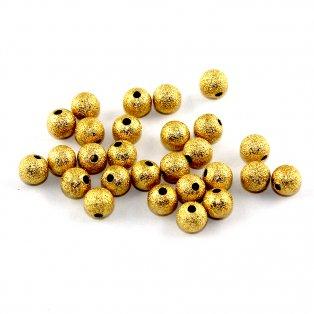 Mosazné korálky s hvězdným prachem - zlaté - ∅ 8 mm - 10 ks
