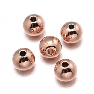 Mosazný korálek - růžově zlatý - ∅ 6 mm - 1 ks