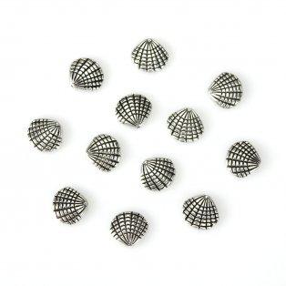 Mušle - 12 x 13 x 4 mm - stříbrná - 1 ks