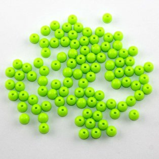 Akrylové neonové korálky - zelenožluté - ∅ 8 mm - 10 ks