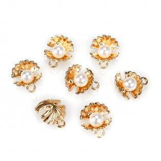 Mušle s perličkou - 15 x 13 mm - zlatá - 1 ks