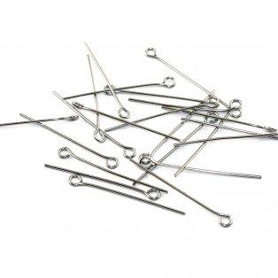 Nerezové ketlovací jehly - stříbrné - 3 cm - 10 ks