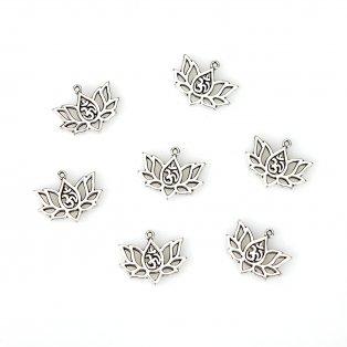 Kovový přívěsek - starostříbrný - óm v lotosovém květu - 16,5 x 20,5 x 1,5 mm - 1 ks