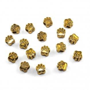 Korálek s širokým průvlekem - psí tlapka - zlatá - 11 x 11 x 7,5 mm - 1 ks