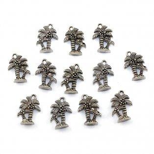 Kovový přívěsek - stříbrný - palma - 18 x 13 x 5 mm - 1 ks