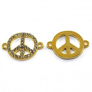 Mezidíl peace s kamínky - zlaté - 26 x 19 mm - 1 ks