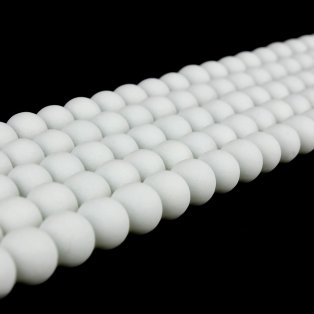 Pogumované korálky - bílé - ∅ 8 mm - 10 ks
