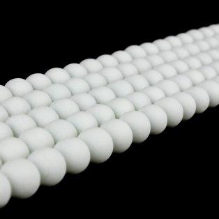 Pogumované korálky - bílé - ∅ 6 mm - 10 ks