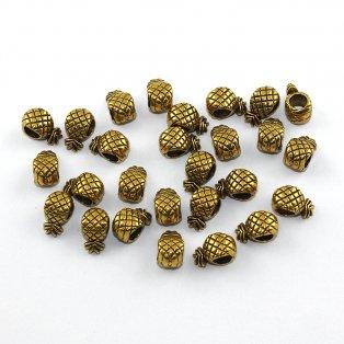 Ananas s širokým průvlekem - zlatý - 12 x 7 x 6 mm - 1 ks