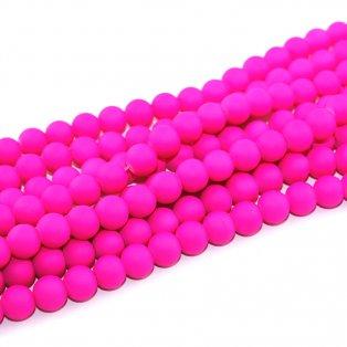 Pogumované korálky - neonově růžové - ∅ 8 mm - 10 ks