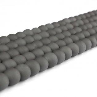Pogumované korálky - tmavě šedé - ∅ 8 mm - 10 ks
