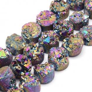 Pokovená geoda z přírodního křemene - 7-12 x 5-10 mm - barevná  - 1 ks