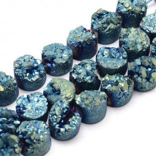 Pokovená drúza z přírodního křišťálu - 7~12 x 5~10 mm - modrá - 1 ks