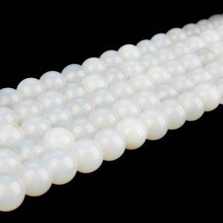 Přírodní bílý nefrit - ∅ 2 mm - 1 ks
