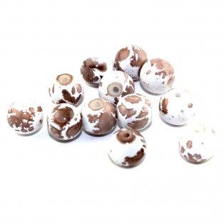 Sprejované korálky - hnědobílé - ∅ 8 mm - 10 ks