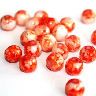 Sprejované korálky - oranžové - ∅ 8 mm - 10 ks