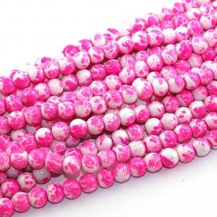 Sprejované korálky - neonově růžové - ∅ 8 mm - 10 ks