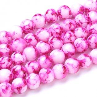 Sprejované korálky - tmavě růžové - ∅ 8 mm - 10 ks