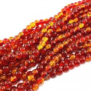 Praskané korálky - červenožluté - ∅ 8 mm - 10 ks