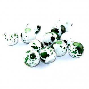 Sprejované korálky - zelenobílé - ∅ 6 mm - 10 ks