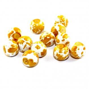 Sprejované korálky - žlutobílé - ∅ 8 mm - 10 ks