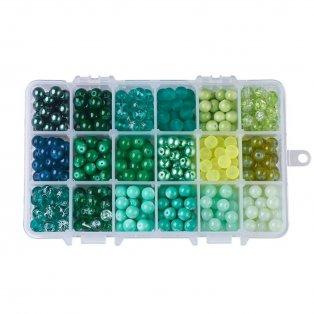 Skleněné korálky - zelený mix - ∅ 8 mm - krabička