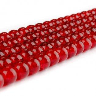 Praskané korálky - červené - ∅ 8 mm - 10 ks