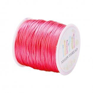 Saténová šňůra - neonově růžová - ∅ 1 mm - 1 m - 1 ks