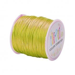 Saténová šňůra - neonově zelenožlutá - ∅ 1 mm - 1 m - 1 ks