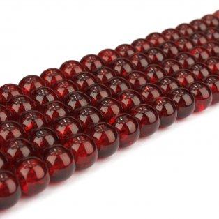 Praskané korálky - tmavě červené - ∅ 8 mm - 10 ks