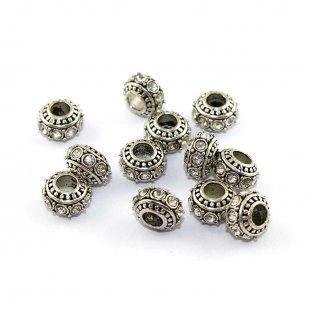 Kovová rondelka s bižuterními kamínky - starostříbrná - 11 x 11 x 7 mm - 1 ks