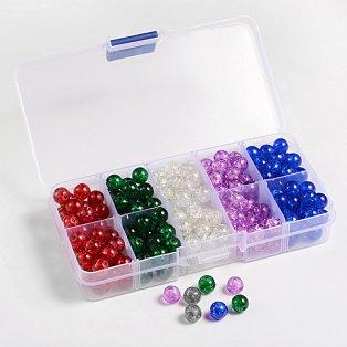Praskané korálky - mix barev - ∅ 8 mm - krabička