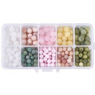 Korálky z přírodního nefritu - matné - mix barev - ∅ 6 ~ 8 mm - krabička