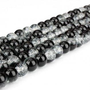 Praskané korálky - černobílé - ∅ 6 mm - 10 ks