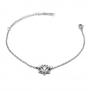 Náramek z nerezové oceli - platinový - lotosový květ - univerzální - 1 ks
