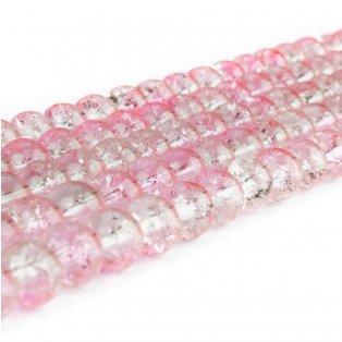 Praskané korálky - růžovobílé - ∅ 8 mm - 10 ks