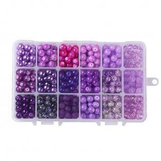 Skleněné korálky - fialový mix - ∅ 8 mm - krabička