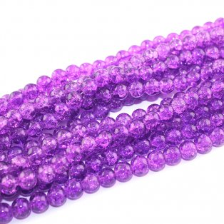 Praskané korálky - fialové - ∅ 8 mm - 10 ks