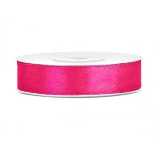 Saténová stuha, neonověově růžová, 12mm/25m (1 kus / 25 bm)