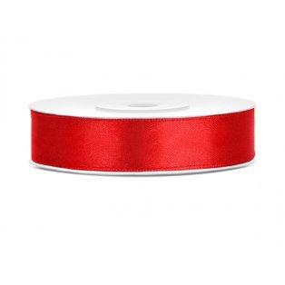 Saténová stuha, červená, 12mm/25m (1 kus / 25 bm)