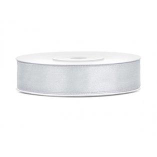 Saténová stuha, stříbrná, 12mm/25m (1 kus / 25 bm)