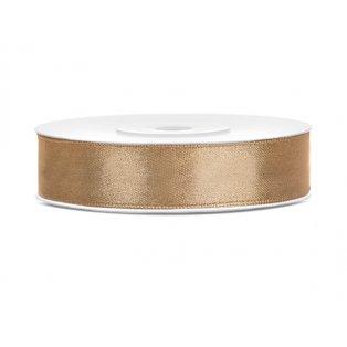 Saténová stuha, světle zlatá, 12mm/25m