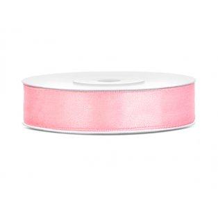 Saténová stuha, světle růžová, 12mm/25m (1 kus / 25 bm)