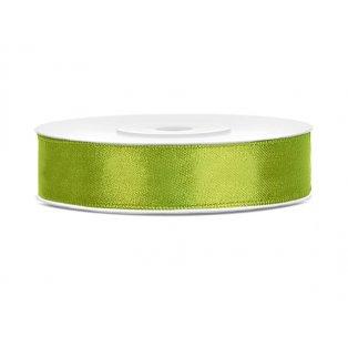 Saténová stuha, jablíčkově zelená, 12mm/25m (1 kus / 25 bm)