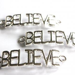 BELIEVE - stříbrný - 43 x 12 x 3 mm - 1 ks