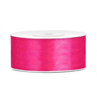 Saténová stuha, neonověově růžová, 25mm/25m (1 kus / 25 bm)