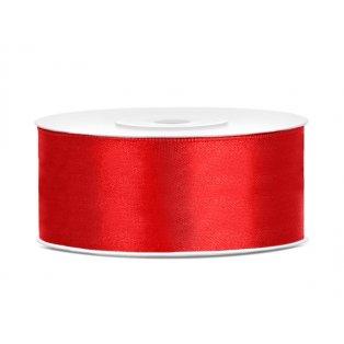 Saténová stuha, červená, 25mm/25m (1 kus / 25 bm )